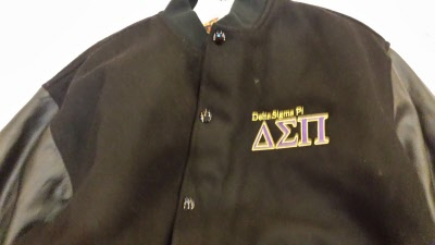 d616945a14 Varsity Jacket embroidered with the full color Delta Sigma Pi Crest on the  full jacket back. Jacket is 100% premium melton wool body with leather  sleeves ...